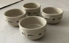 Longaberger Pottery Woven Traditions Blue 4 Stackable Ramekins/Cups