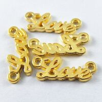 100X fashion Gold Tone LOVE Connector Charms Findings 16*8*2mm