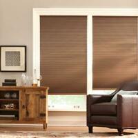 PRE CUT Home Decorators Mocha 9/16 in. Blackout Cordless Cellular Shade