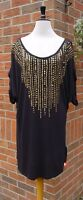 SOUTH Black Sequin Embellished Top SIZES 10 12 14