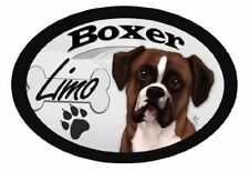 "Boxer ""Limo"" Oval Dog Magnet v2 for Cars and such"