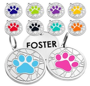 Dog ID Tag Personalized Pet Name Paw Custom Engraved Enamel Tags Small Large