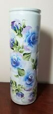 Blue & Purple Roses Cylinder Vase Hand Painted