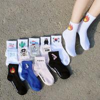 Fashion Women Men Funny Cotton Socks Harajuku Fire Print Unisex Short Socks  Hot