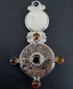 Sajen Brooch Pendant Silver Sterling 925 Goddess Jasper Amber Garnet Stones