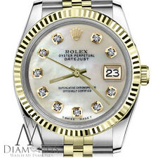 Men's Rolex 36mm Datejust 2 Tone White MOP Mother Of Pearl Diamond Dial