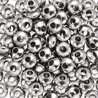 200pcs 304 Stainless Steel Metal Beads Smooth Loose Spacer Flat Round Tiny 6x3mm