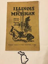 1922 Michigan v Illinois Original Football Program Fielding Yost Ferry Field GD+