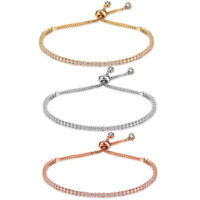 Adjustable Women Lady Charm Bracelet Embellished Crystals Rhinestone Chain