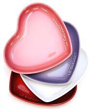 "New Le Creuset Cerise White Bluebell Purple Rose Quartz Set Of 4 7"" Heart Plates"