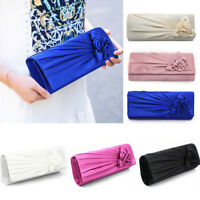 Ladies Satin Clutch Bag With Rose Evening Wedding Party Prom Bridal Handbag UK