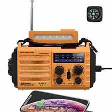 Emergency Solar Hand Crank Am Fm Sw Noaa Weather Alert Battery Power Bank Orange