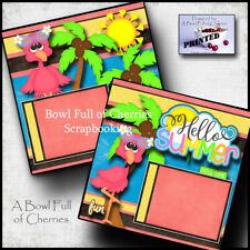 HELLO SUMMER 2 premade scrapbook pages paper piecing printed layout CHERRY #0002