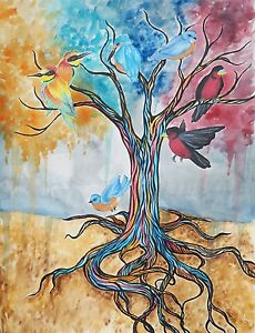 Watercolor Rainbow Tree Exotic Birds Pen and Ink - 8x10 Signed Archival Print