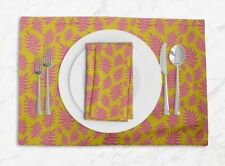 S4Sassy Artistic Leaves Placemats & Napkins Table Decor Dining Mats-LF-619G