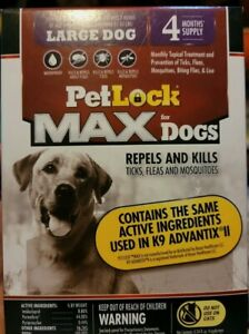PetLock Max Large Dogs 4 month Supply Repels Kills, Ticks Fleas & Mosquito