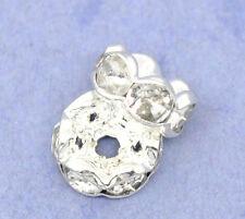100 Perles Intercalaires Rondelles Strass Argenté 8mm