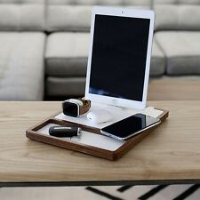 NYTSTND QUAD TRAY Five-Coil Qi Fast Wireless Wooden Charging Dock, White Top