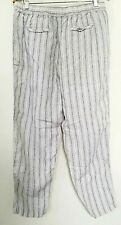 Tahari LINEN pants women XL Lagenlook pinstripe elastic waist black white straig