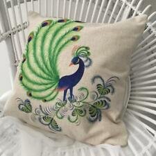 Cushion Cover Peacock Beautiful Blue and Green Linen Look 45 x 45 cm