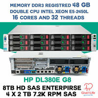 HP DL380e G8 14 DISCOS 2x E5-2450L 16Cores 32 Threads 48Gb DDR3 + 8Tb SAS SERVER