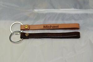 Leder - Schlüsselband in hell- und dunkelbraun mit ihrer Wunschgravur