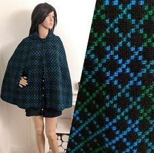 Vintage 60s Welsh Tapestry Wool Blue Green Geo Short Button Cape Coat S 8 10 36