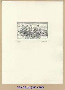 Josef Hercik copperplate engraving Rowing Zagreb University Games 1987