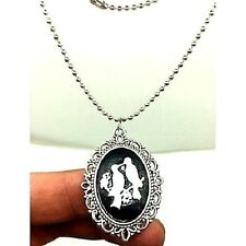 "Vintage Happy Bird Cameo Necklace Silver Tone 20"" Ball Chain & Clasp Women's USA"