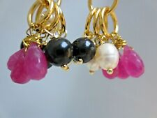 Ruby Quartz Earrings Authentic Pearl Earrings Pink Topaz Mix Gemstones Hoop