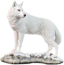 "9.5"" White Wolf on Snow Nature Wildlife Animal Statue Collectible Wild Sculpture"