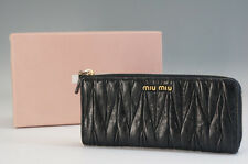 Authentic miu miu Materasse Zippy Zip Around Long Wallet w/box Free Ship 931f07