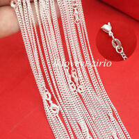 Wholesale Lots 5Pcs 925 Sterling Silver 2mm Flat Curb Link Chain Necklace 16-26""