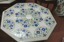 """18"""" White Coffee Dining Table Top Lapis Lazuli Green Monday Holiday Best Gifts"""
