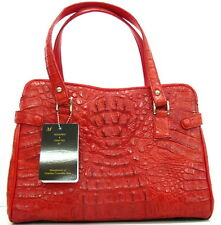 100% BIG HORNBACK GENUINE CROCODILE LEATHER HANDBAG BAG TOTE HOBO SHINY RED NEW