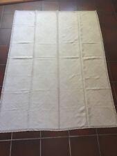 Tischdecke beige mit Spitze Vintage Omas Decke Maße 135 x 182 cm