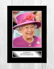 More details for queen elizabeth ii 2 a4 reproduction signed poster choice of frame