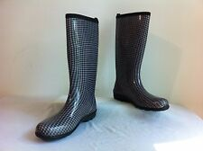 KAMIK Rubber Rain Boots Wellies Black & Gray Houndstooth Size 11