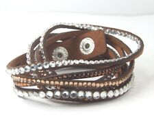 Women's Faux Leather Wristband Cuff Punk Crystal Rhinestone wraparound Bracelet