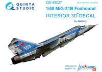 Quinta QD48027 1/48 MiG-31B 3D-Printed&coloured interior, (for AMK)