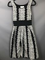 Fever London Occasion Size 10 A Line Black White Floral Patterned Dress