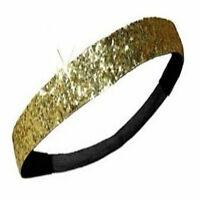 Gold Glitter Headband Sweat Glittery Sport Running Softball Basketball Hair NEW