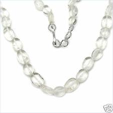 "101.00ctw GENUINE CRYSTAL Oval Beads 18"" Necklace NEW"