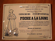PLAQUE EMAILLEE CONCOURS INTERNATIONAL PECHE LIGNE 1900 fishing competition sign