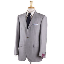 NWT $3695 SARTORIA PARTENOPEA Light Gray Stripe Lightweight Wool Suit 40 R