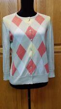 Cherokee Argyle Beige Orange Yellow Cardigan Sweater Size S