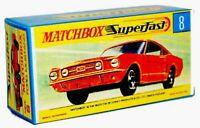 Matchbox Lesney No 8 Ford Mustang Orange Empty Repro Box style G