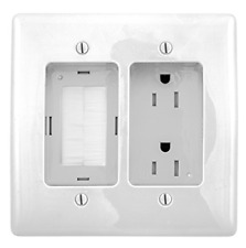 Bryant Electric Rr1512W 2-Gang Recessed Tv Connection Outlet Plate with 15 Amp
