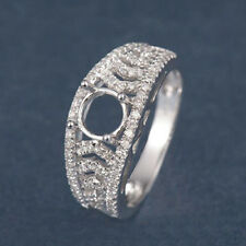 5.0mm Round Solid 14k White Gold 100% Natural Diamond Semi Mount Ring Setting