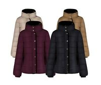 Newest Womens Ladies Quilted Padded Bubble Fur Hooded Thick Warm Puffer Coat Jkt